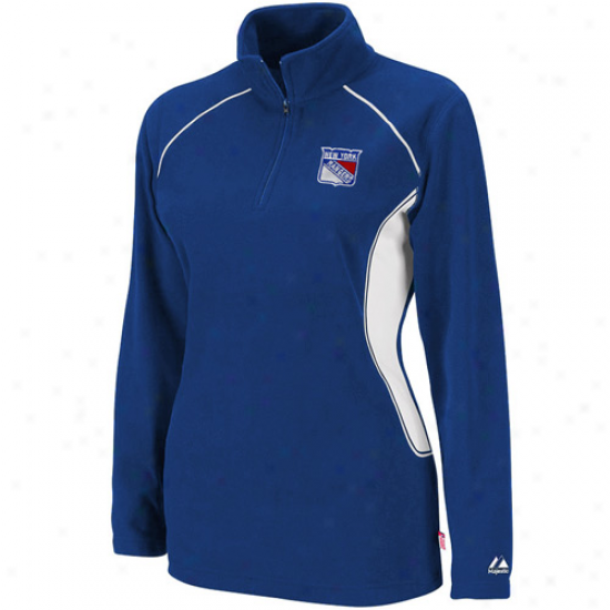 Majestic New York Rangers Ladiess Royal Blue Charged Up Quarter Zip Fleece Sweatshirt