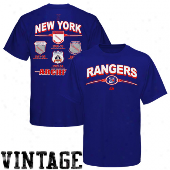 Majestic New York Rangers Team Archive T-shirt - Royal Blue