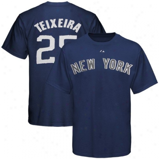 Majestic New York Yankees #25 Mark Teixeira Navy Blue Applique Premium T-shirt
