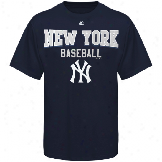 Majestic New York Yankees Kkngs Of Swing T-shirt - Navy Blue