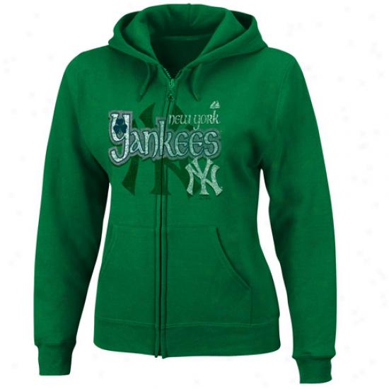 Majestic New York Yankees Ladies Kelly Green Celtic Catch Full Zip Hoody Sweatshirt
