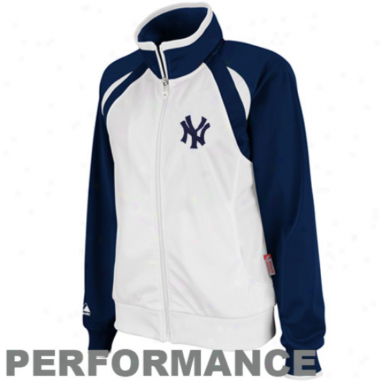 Majestic New York Yankees Ladies White-navy Blue Therma Base Full Zup Performance Track Jerkin