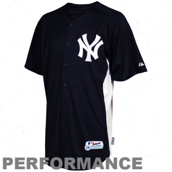 Majestic New York Yankees Youth Batting Practice Performance Jeersey - Ships Bllue-white