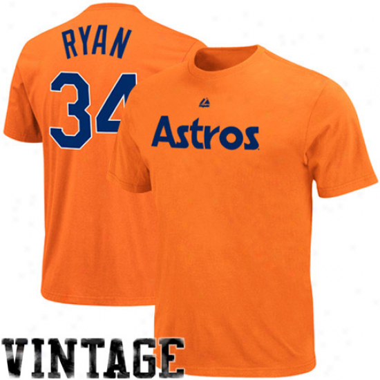 Majestic Nolzn Ryan Houston Astros #34 Youth Cooperstown Player T-zhirt - Orange