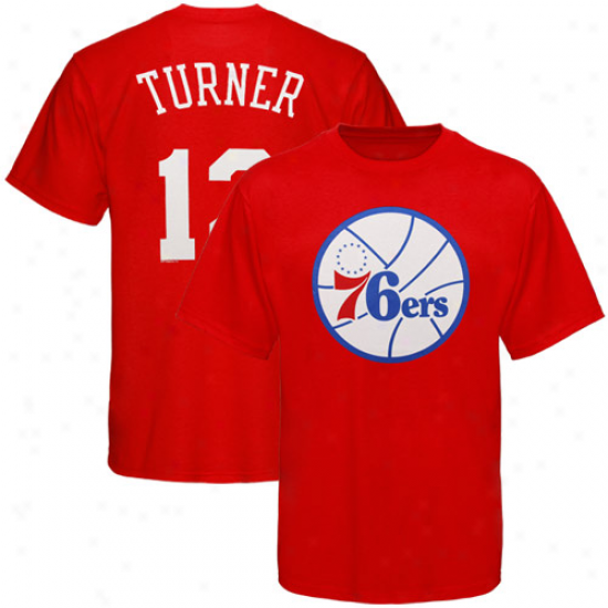 Majestic Philadelphia 76ers #2 Evan Turner Youth Red Name & Number T-shirt
