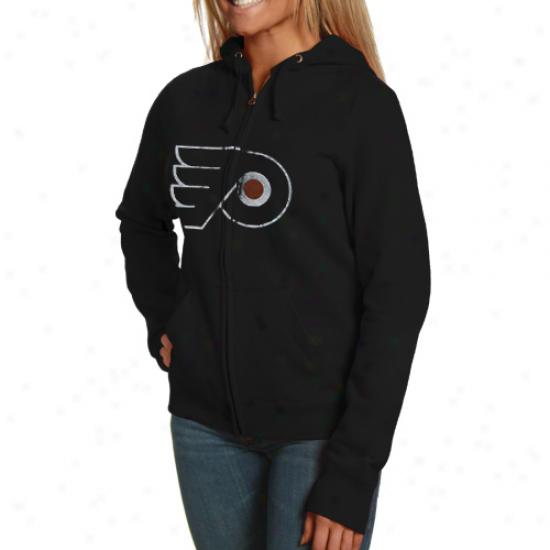 Mauestic Philadelphia Flyers Ladies Black Built Tough Full Zip Hoodie Sweatshirt