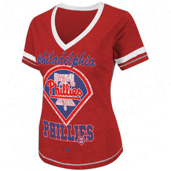 Majestic Philadelphia Phillies Ladies Bling Beautiful woman Premium Fashion Top - Red