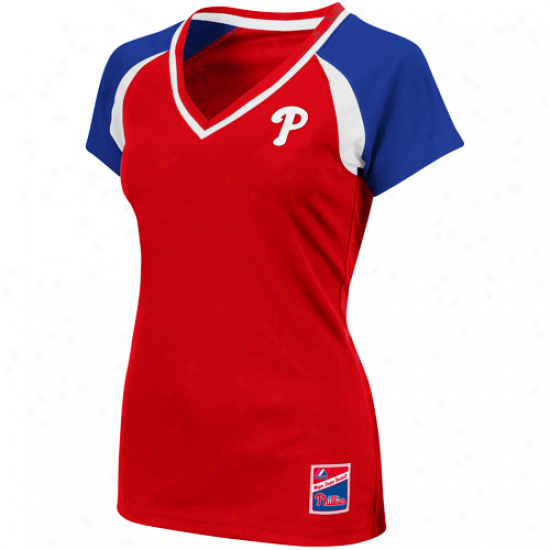 Majestic Philadelphia Phillies Ladies Red-royal Pedantic  The Emerald Premium V-neck Fashion Top