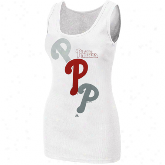 Majestic Philadelphia Phillies Ladies White Pearl Tank Top
