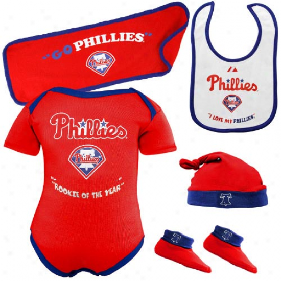 Majestic Philadelphia Phillies Newborj Red Rookie Of The Year 5-piece Creeper Set
