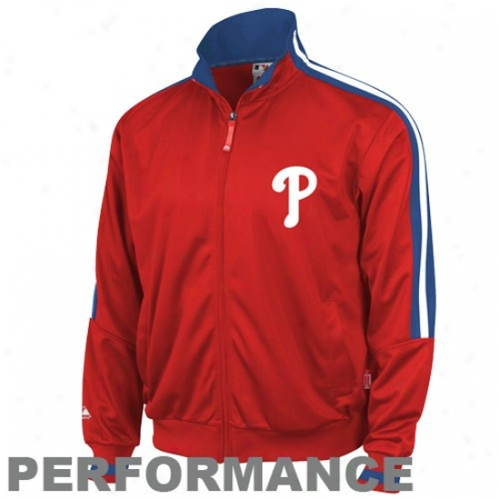 Majestic Philadelphia Phollies Red Therma Base Performance Track Jacket