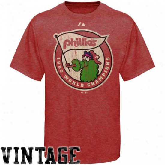 Majestic Philadelphia Phillies Red Training Up Vintage Heathered T-shirt-