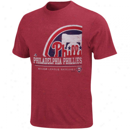 Majestic Philadelphia Phillies Submariner Heathered T-shirt - Red