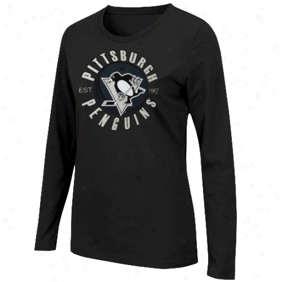 Majestic Pittsburhh Penguins Ladies Unbreakable Spirit Long Sleeve T-shirt - Black