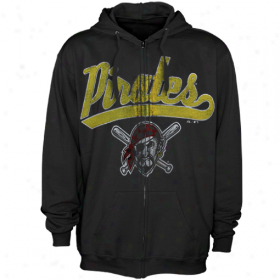 Maejstic Pittsburgh Pirates Black Bi Club Full Zip Hoodie Sweatshirt