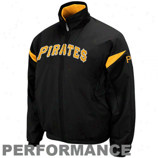 Majestic Pittsburgh Pirates Black Therma Base Triple Peak Premier Full Zip Jacket
