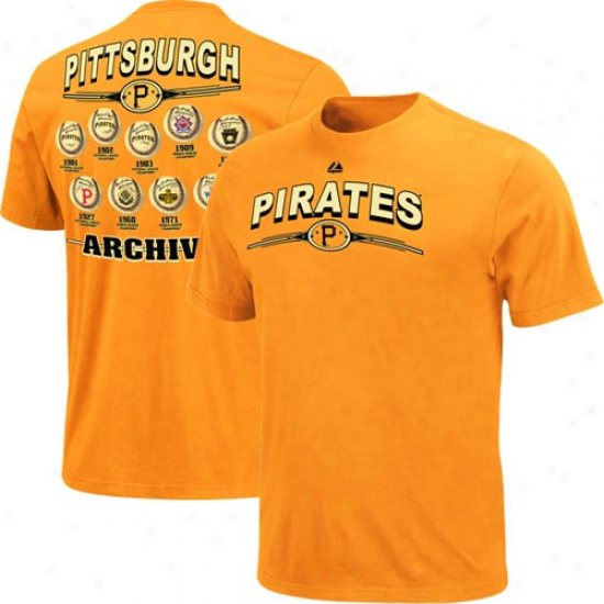 Majestic Pittsburgh Pirates Team Archive Vintage T-shirt - Gold