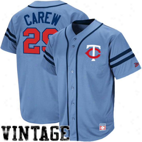 Majestic Rod Carew Minnesota Twins Throwback Heater Jersey - Light Blue