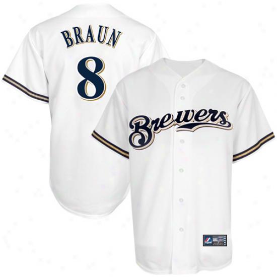 Majestic Ryan Braun Milwaukee Brewers Replica Jersey - White
