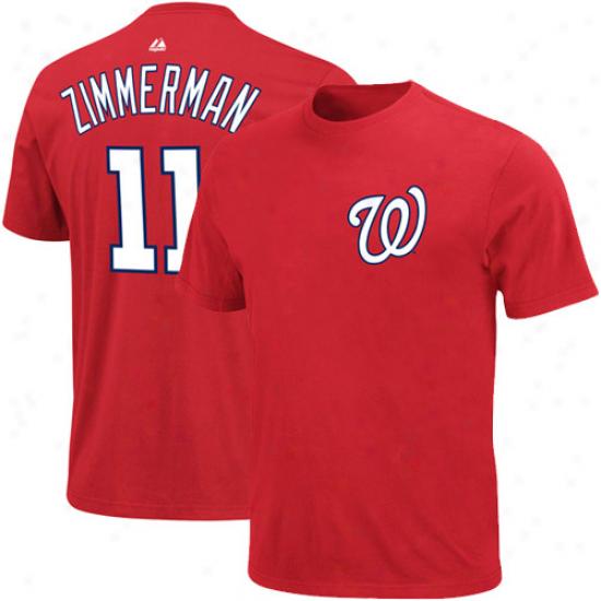 Majestic Ryan Zimmerman Washington Nationals #11 Player T-shirt - Red