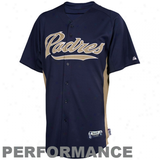 Majestic San Diego Padres Batting Practice Performance Jersey - Ships of war Blue-gold