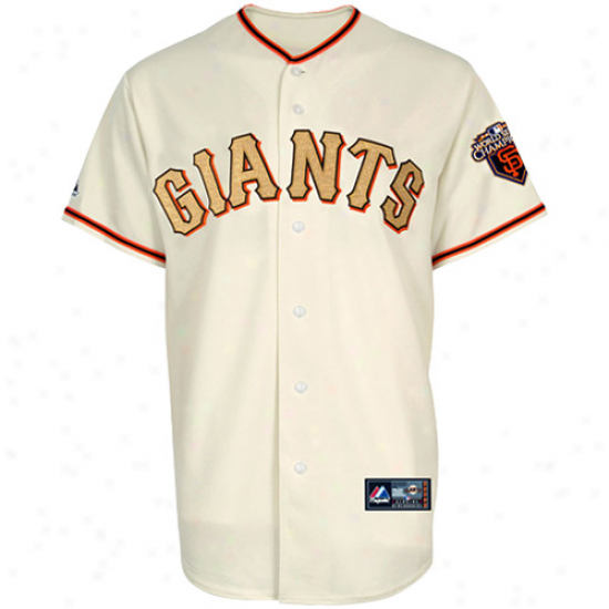 Majestic San Francisco Giants 2010 World Series Champoons Gold Program Jersey - Natural