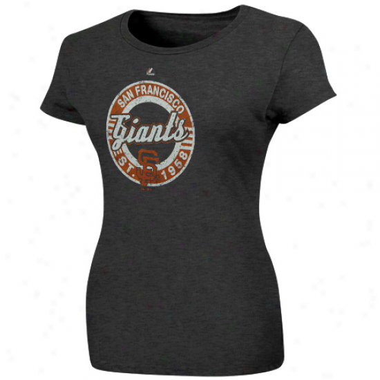 Majestic San Francisco Giants Ladies Retroized Heathered T-shirt - Charcoal