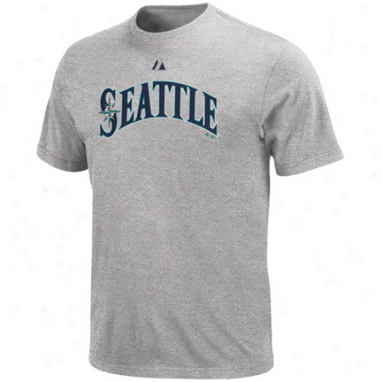 Majestic Seattle Mariners Official Road Wordmark T-shirt - Ash