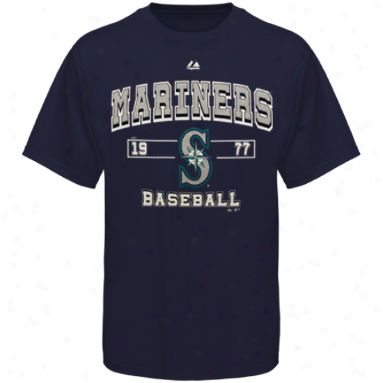 Majestic Seattle Mariners Past Time Original T-shirt - Navy Blue