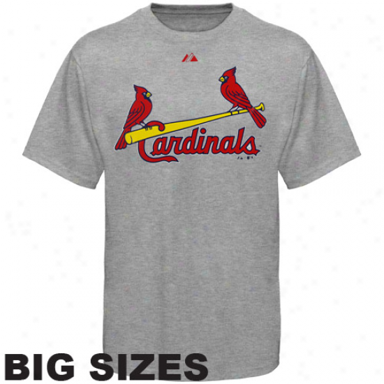 Majsetic St. Louis Cardinals Away Distended Sizes T-shirt - Ash