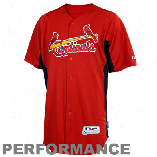 Majestic St. Louis Cardinals Youth Batting Practice Performance Jerseey - Red-navy Blue