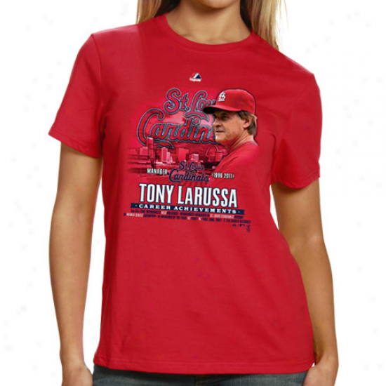 Majestic St. Louis Cardindals Ladies 2011 World Series Champions Tony Laruswa Career Achievement T-shirt - Red