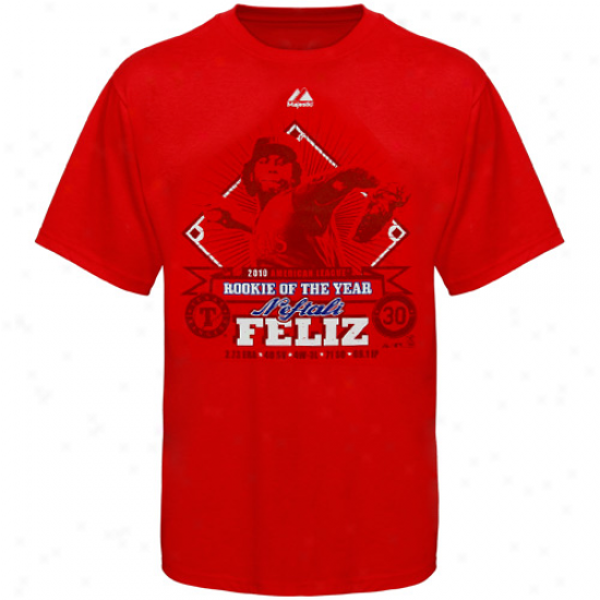 Majestic Texas Rangers #30 Neftali Feliz Youth Red 2010 Rookie Of Thhe Year T-shirt
