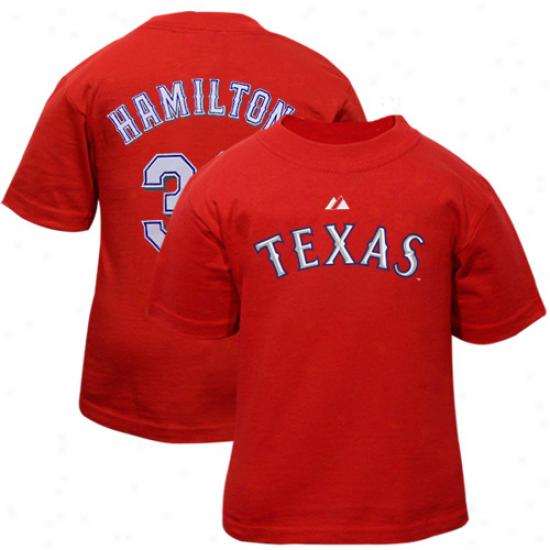 Majestic Texas Rangers #32 Josh Hamilton Infant Red Player T-shirt