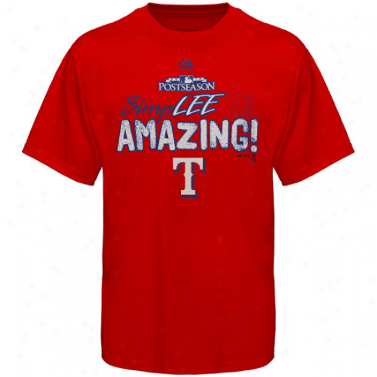 Majestic Texas Rangers #33 Cliff Lee Red Simplee Astonishing T-shirt