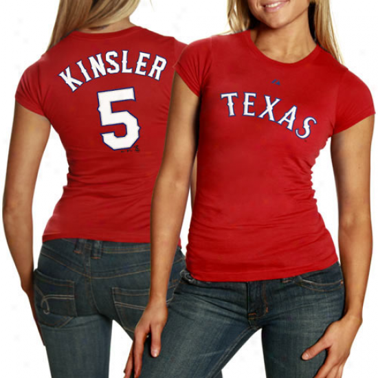 Majestic Texas Rangers #5 Ian Kinsler Ladies Red Player T-shirt