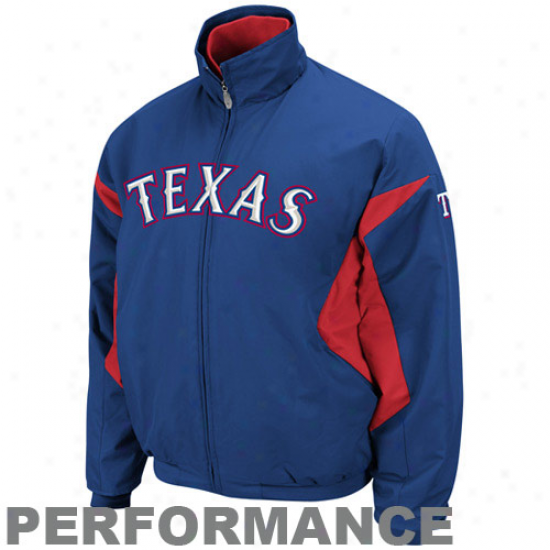 Majestic Texas Rangers Royal Blue-red Therma Found Triple Peak Premier Completely Zip Performance Jacket