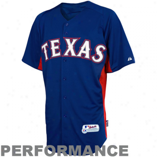 Majestic Texas Rangers Youth Batting Practoce Performance Jersey - Royal Blue-red