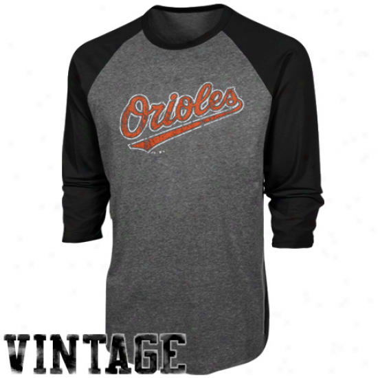 Majestic Threads Baltimore Orioles Cooperstown Grand Slam Tri-blend Three-qaurter Sleeve Raglan T-shirt - Charcoal/black