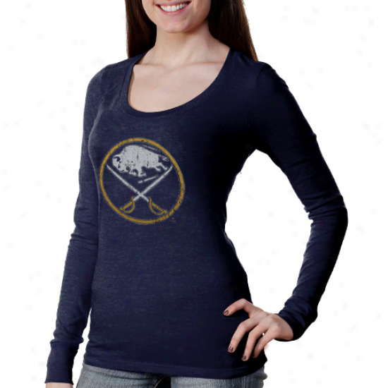 Majestic Threads Buffalo Sabres Women's Team Logo T-shirt - Navy Blue