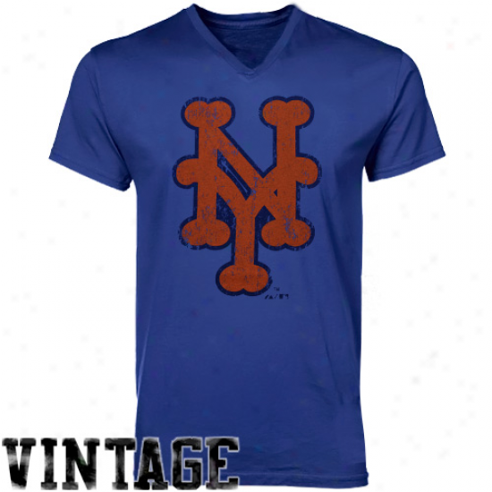 Majestic Threaads New York Mets Cooperstown V-neck T-shirt - Royal Blue