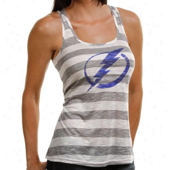 Majestic Threads Tampa Desperation Lightning Ladies Gray-cream Good Call Racerback Striped Tank