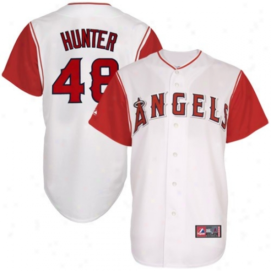 Majestic Torii Hunting-horse Los Angeles Angels Of Anaheim Replica Jersey-#48 White-red