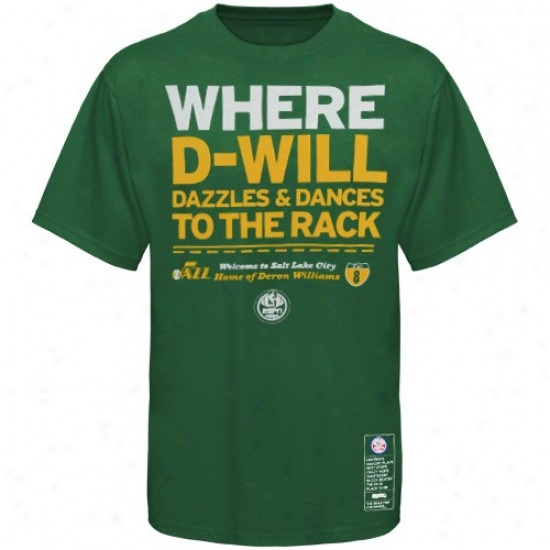 Majestic Utah Jazz #8 Deron Williams Green Nba Campaign Espn T-shirt
