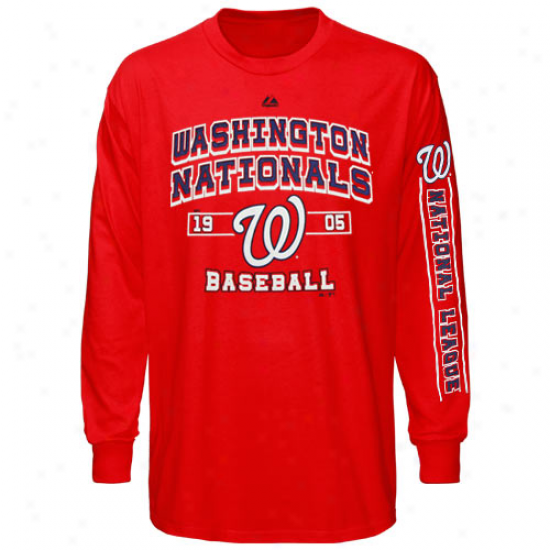 Majestic Wahsington Nationals Past Time Original Long Sleeve T-shirt - Red