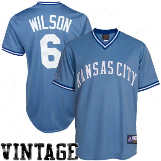Majestic Willie Wilson Kansas City Royals Cooperstown Throwback Jersey - Light Blue