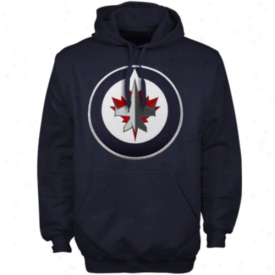 Majestic Winnipeg Jetq Navy Blue Felt Tek Patch Pullover Hoodie Sweatshirt