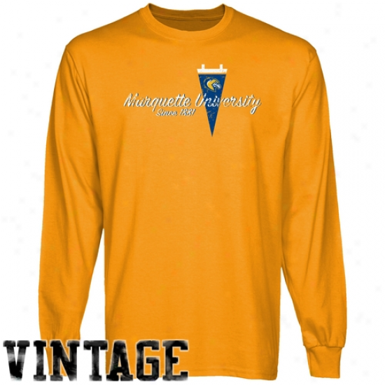 Marquette Golden Eagles Gold Pennant Tradition Vintage Long Sleeve T-shirt