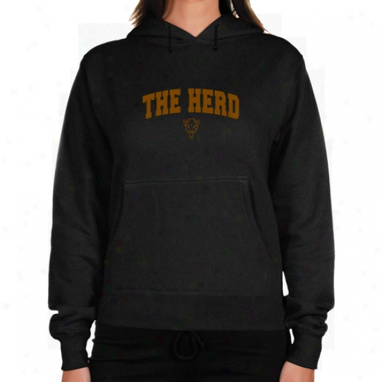 Maarshall Thundering Herd Ladies Charcoal Logo Arch Lightweight Hoody