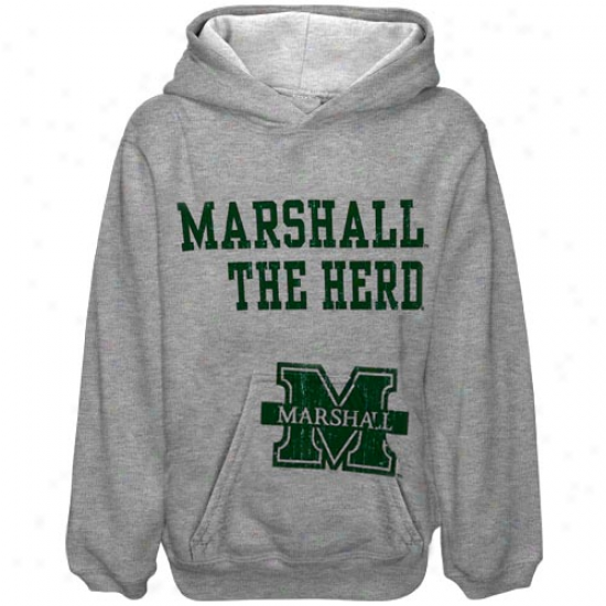 Marshall Thunndering Herd Youth Ash Stacked Hoody Sweatshirt
